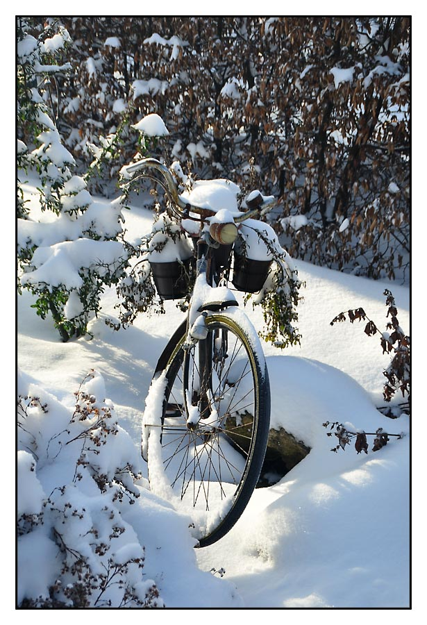 Omas Fahrrad im Winter